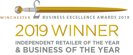 WINCHESTER BUSINESS EXCELLENCE AWARE - 2019 WINNER - INDEPENDENT RETAILER OF THE YEAR & BUSINESS OF THE YEAR