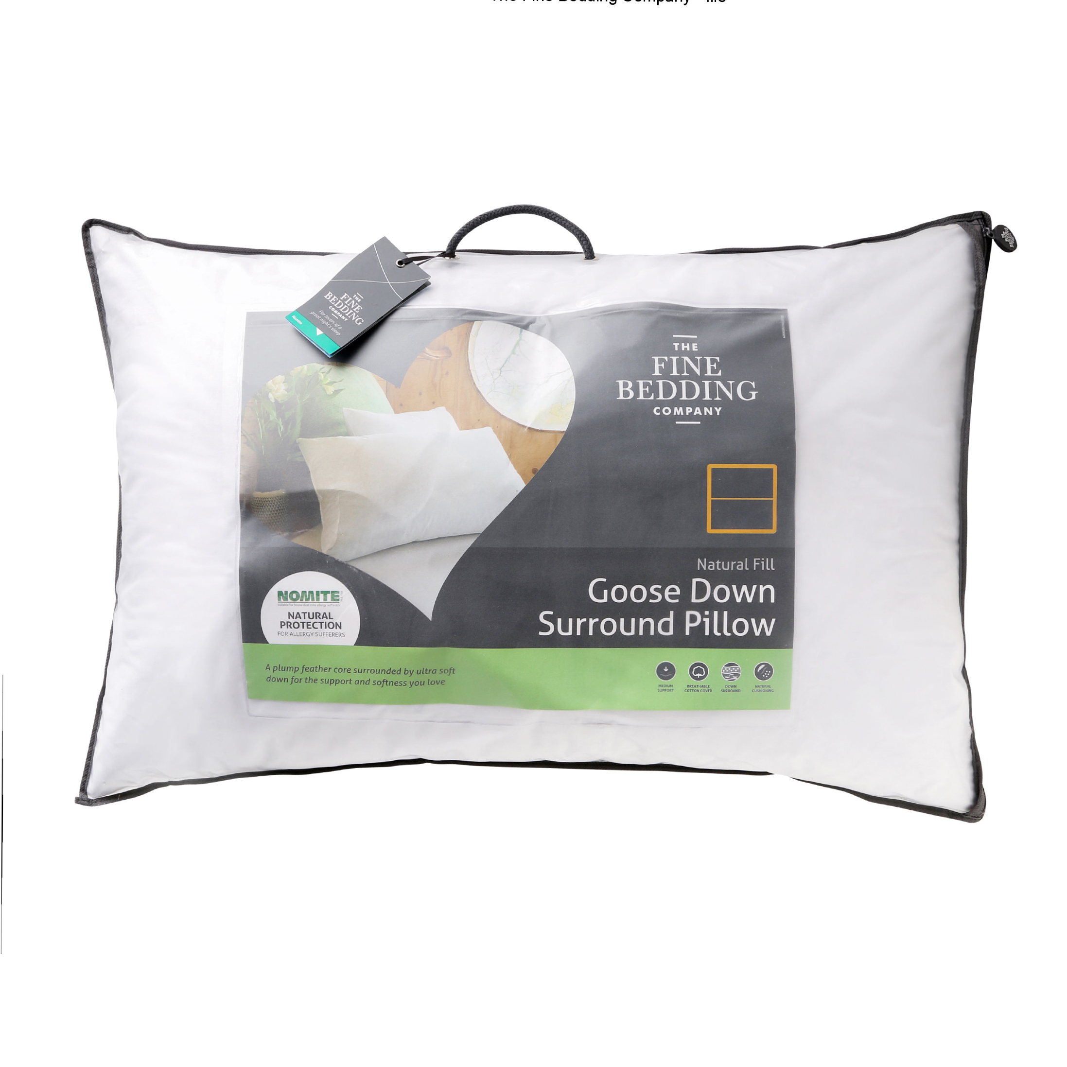 The Fine Bedding Company Natural Fill Goose Down Surround Pillow