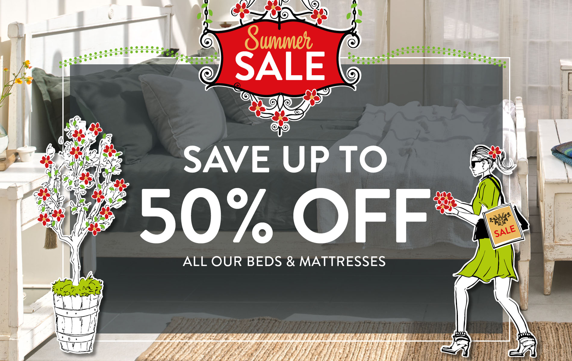 SAVE UP TO 50% OFF ALL OUR BEDS & MATTRESSES